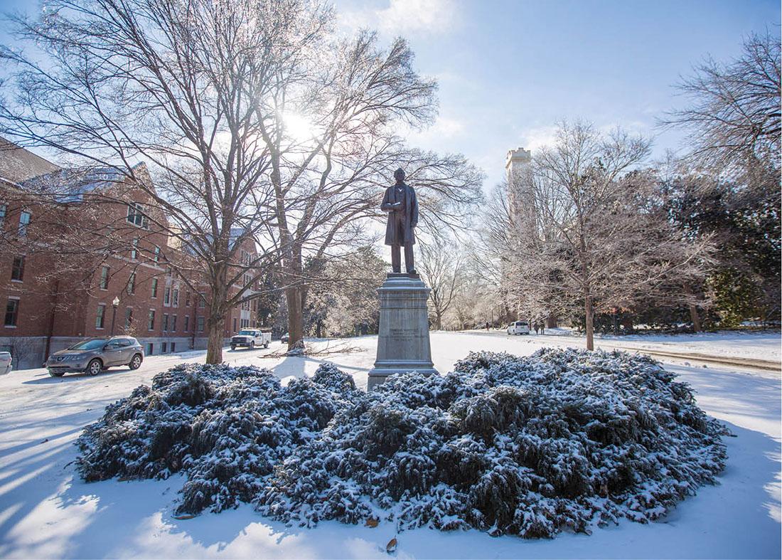 photo of Cornelius Vanderbilt statue in snow