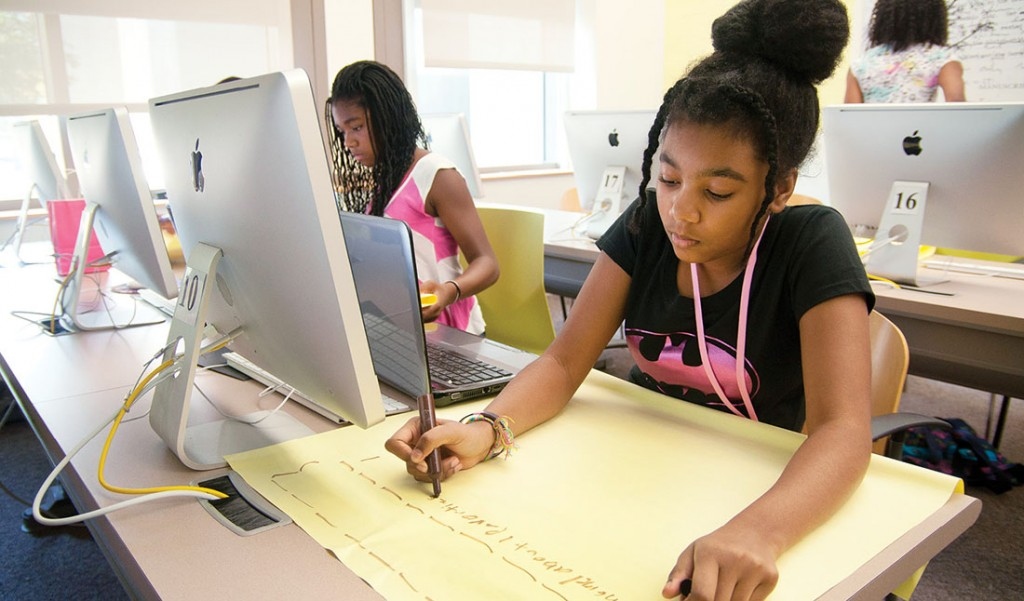 Photo of African American girls at computers