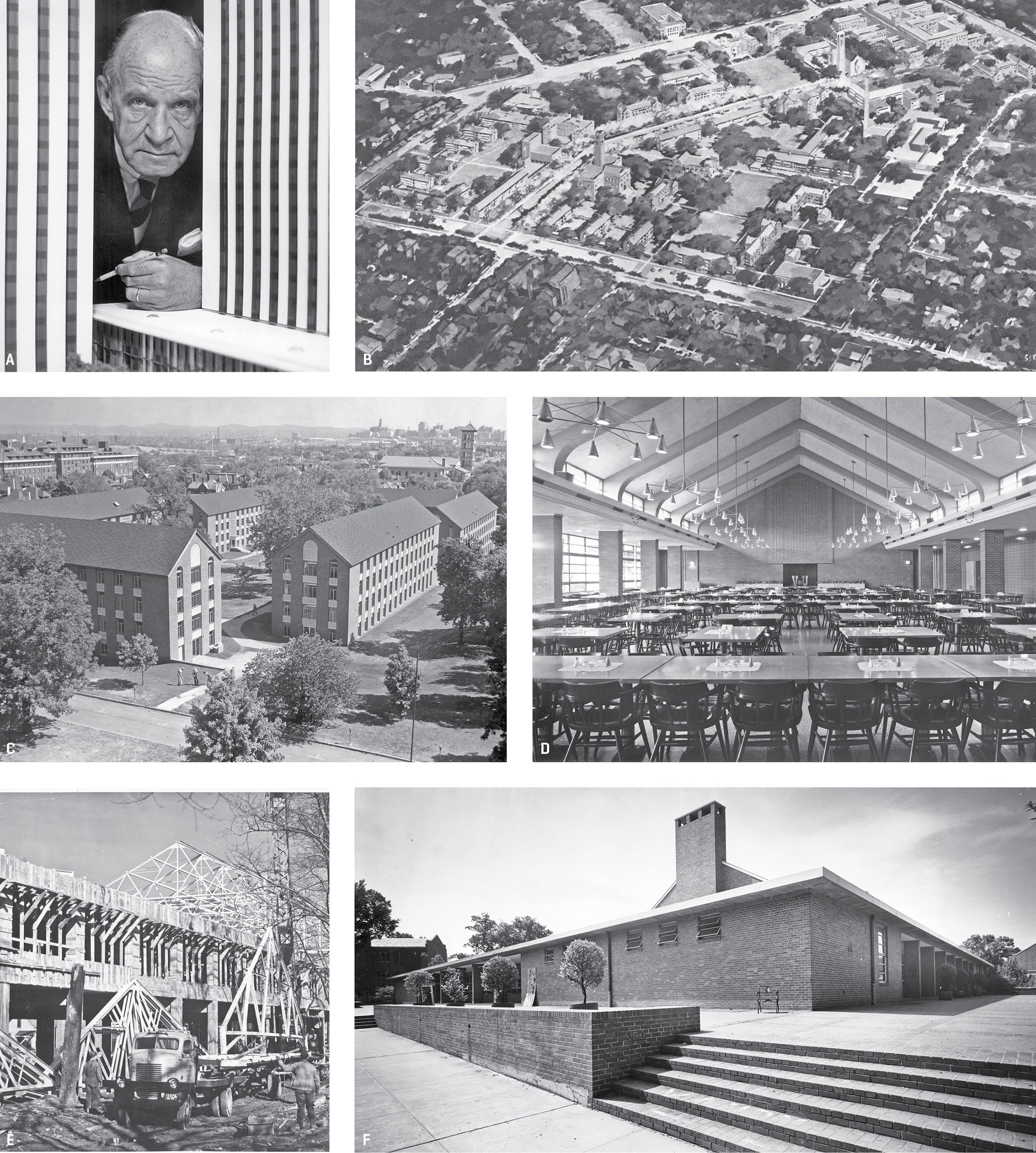 Photos of Edward Durell Stone and his buildings around campus