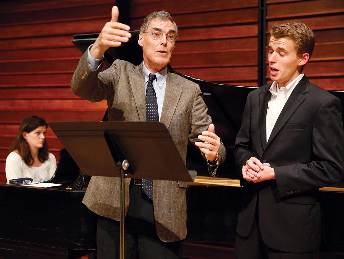 Collaborative pianist Karen Verm plays while master vocal coach Roger Vignoles