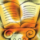 Illustration of book atop a pedestal