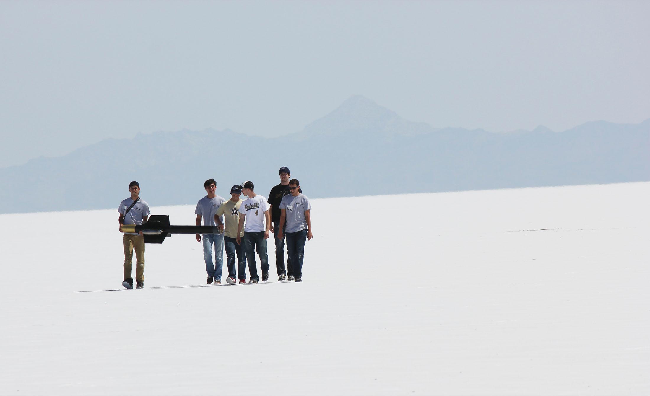 Student rocketeers on the Bonneville Salt Flats of Utah