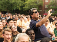 Chancellor Nicholas S. Zeppos takes a selfie with members of the Class of 2022 during the annual Founders Walk and Picnic for new students last August. (Nathan Morgan)
