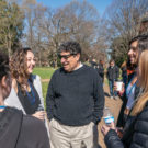 photo of Chancellor Zeppos chatting with students