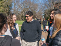 Chancellor Nicholas S. Zeppos chats with students after this year's Out of the Darkness March, which brought awareness to suicide prevention. (Vanderbilt University/John Russell)