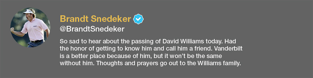 screenshot of Brandt Snedeker tweet about David Williams