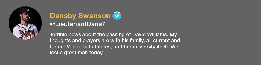 screenshot of Dansby Swanson tweet about David Williams