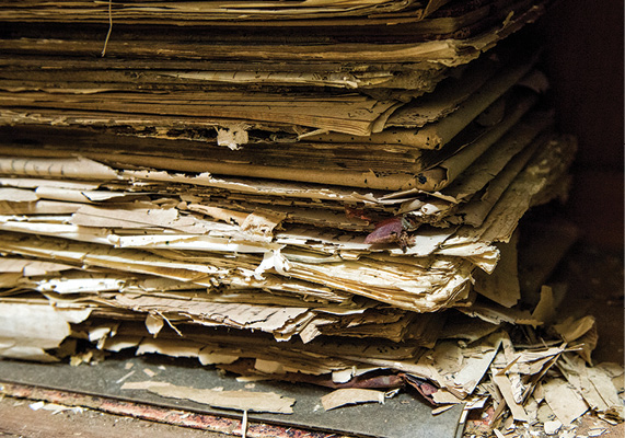 photo of a stack of old documents