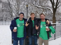 Left to right: Nick Lovinger, BA'15; Jake Goldklang, BA'15; and Liam Byrne, BA'14, braved a snowy Saturday morning with other members of the Metro New York Vanderbilt Chapter to volunteer for their service project benefiting the Bowery Mission.