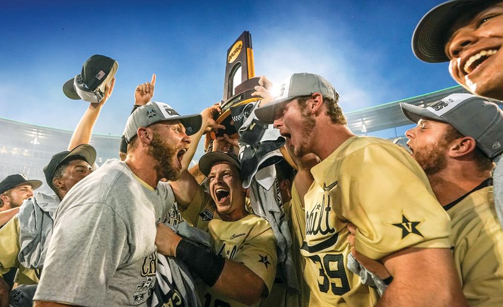 photo of Vanderbilt baseball players celebrating their College World Series victory