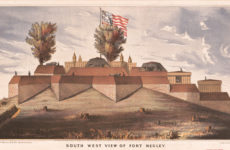 A soldier's illustration shows a southwest view of Nashville's Fort Negley after completion in 1862.  (Library of Congress)