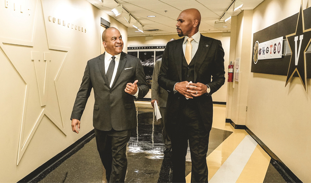 photo of Malcolm Turner and Jerry Stackhouse touring Vanderbilt's athletics facilities