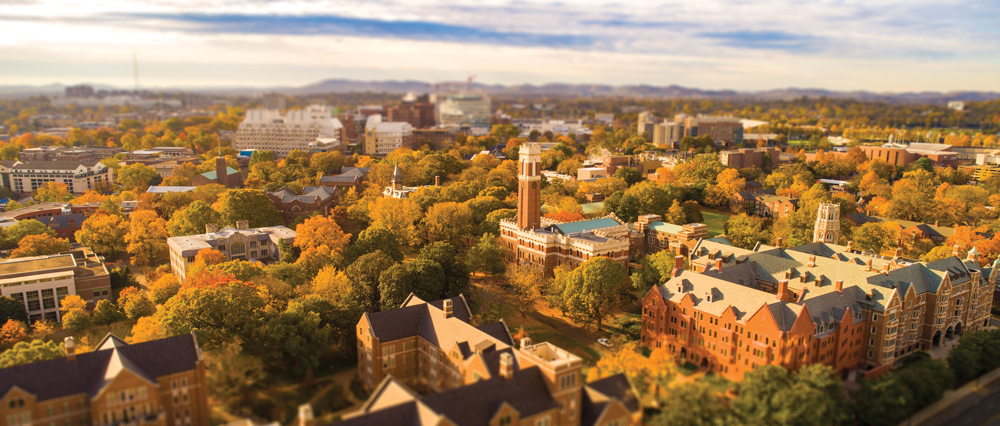 aerial view of Vanderbilt's campus in fall