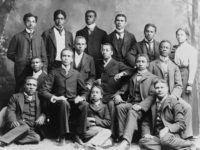 """Students in Roger Williams University's """"academic"""" class—as opposed to its ministers or teachers classes—pose for their class photo in 1899."""