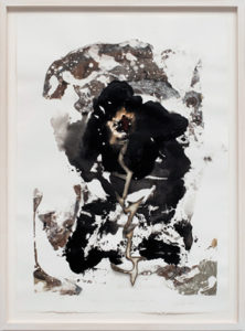 La ira de Chango and Zeus II (The wrath of Chango and Zeus II) (2016), recycled car metal, ink, acrylic and matte medium, watercolor and pencil on paper