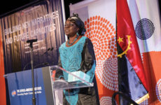 Ndong-Jatta accepts the 2019 Distinguished Alumni Award from the Africa-America Institute in September. Photo courtesy of the Africa-America Institute