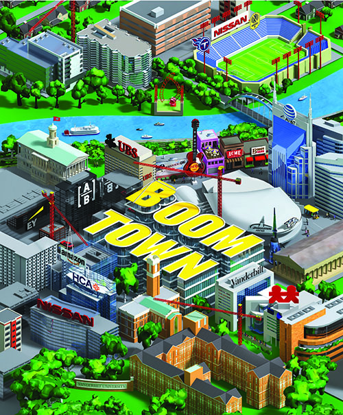 illustration of downtown Nashville with construction cranes and new buildings with corporate signs
