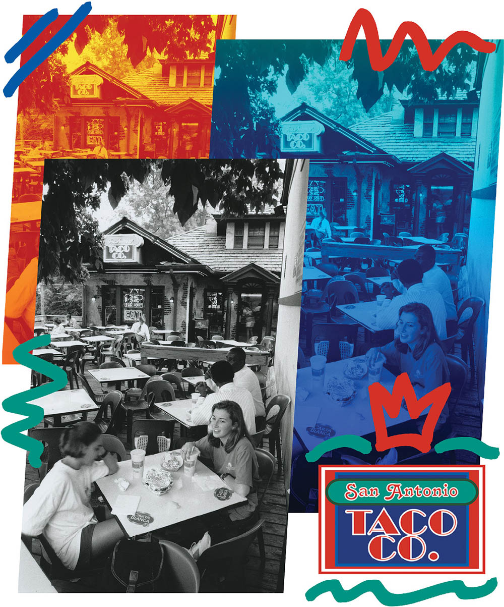illustration that incorporates old photo of students eating on the patio of SATCO