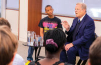 Actor and singer–songwriter Jaden Smith (left) listens as former Vice President Al Gore speaks to Vanderbilt students studying Earth and environmental science. (Anne Rayner/Vanderbilt)
