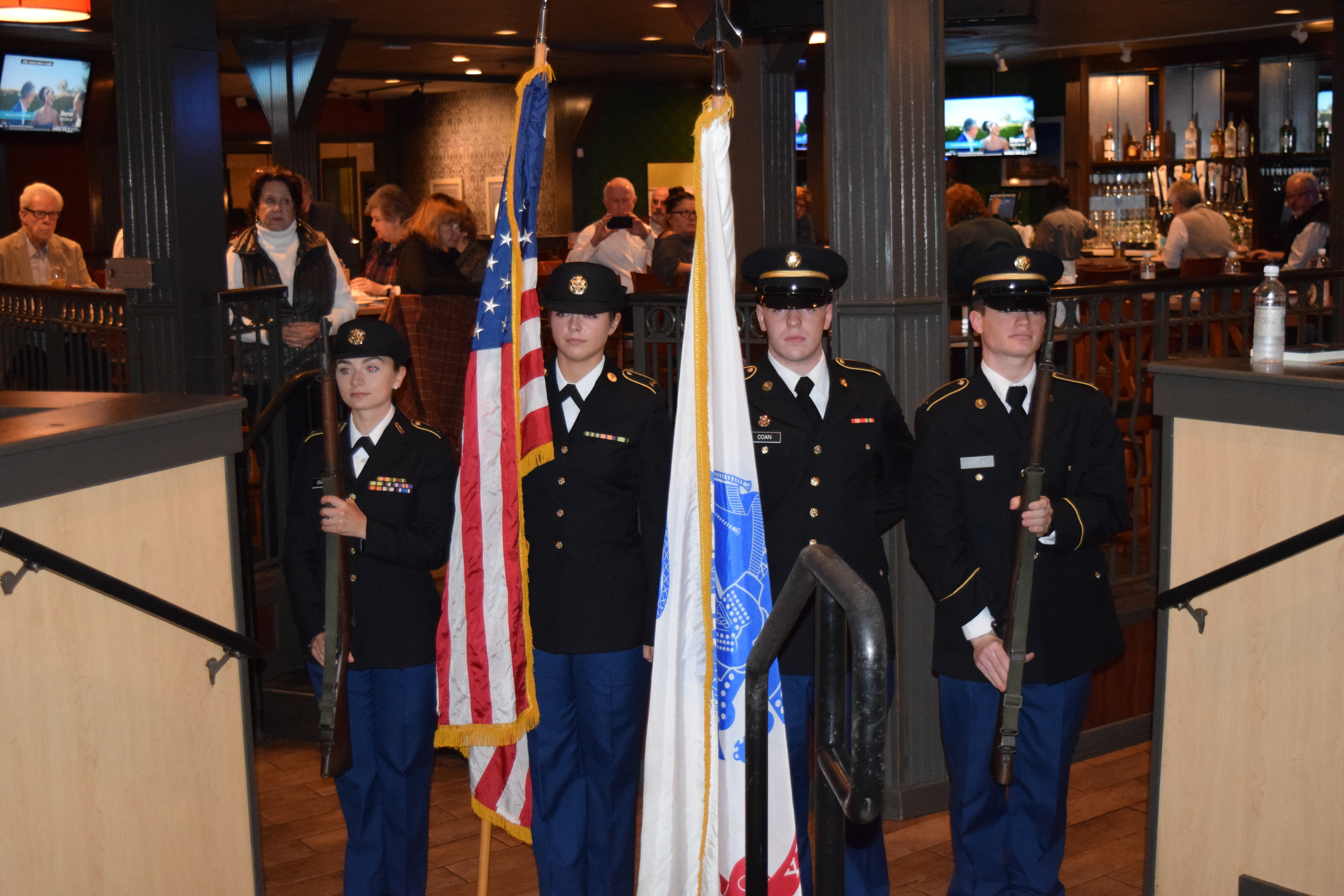 <p style='text-align:center'>Color Guard</p><span style='font-size:1rem'> Color Guard has been a part of the military since its inception. We have the honor of presenting the colors at several events each semester at a variety of events. We are generally asked to present the colors at Vanderbilt sporting events as well as corporate events off campus.</span>