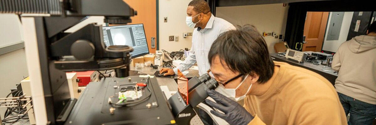Justus Ndukaife, Assistant Professor of Electrical Engineering, assists with research at the interface between the fields of nanophotonics.