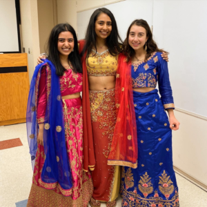Two of my Lakshya teammates and I in our formal dresses after dinner!
