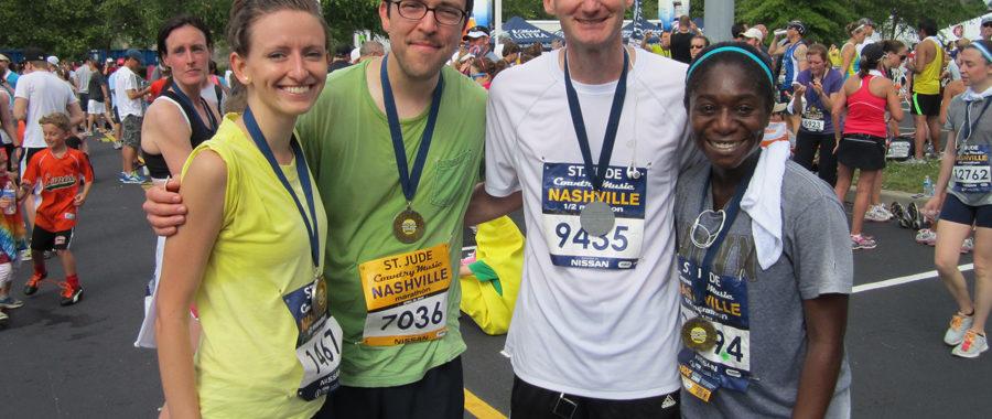 Finishing the Nashville half marathon!