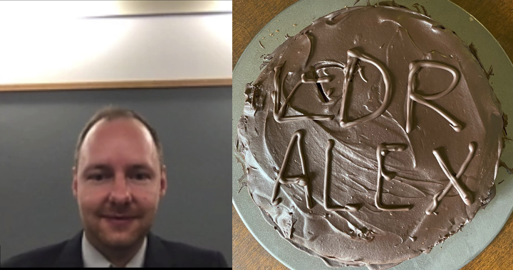 Alexander's PhD defense and homemade Sacher torte graduation cake