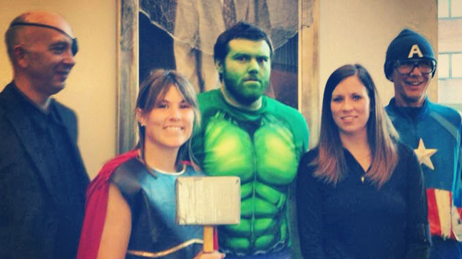 """The O'Brien Lab as """"The Avengers"""" for the 2013 Halloween Party"""