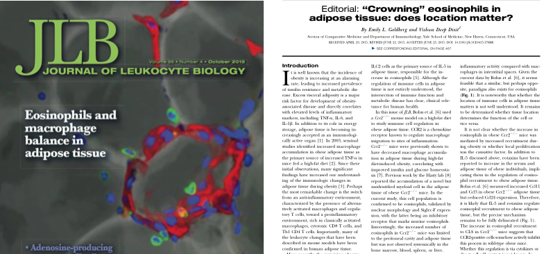 Our work made the cover of JLB, accompanied by an Editorial. Check it out!