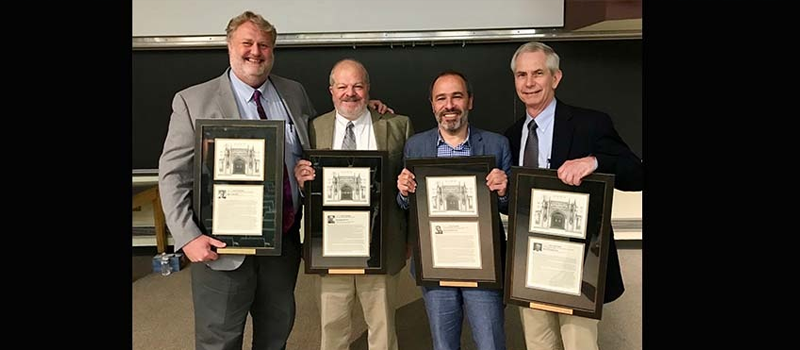 MPB wins four of the 2018 faculty awards from the School of Medicine. L-R. Roger Colbran, Charles R. Park Award. Dave Wasserman, John H. Exton Award. Hassane Mchaourab, Stanley Cohen Award. Owen McGuinness, Jacek Hawiger Award.