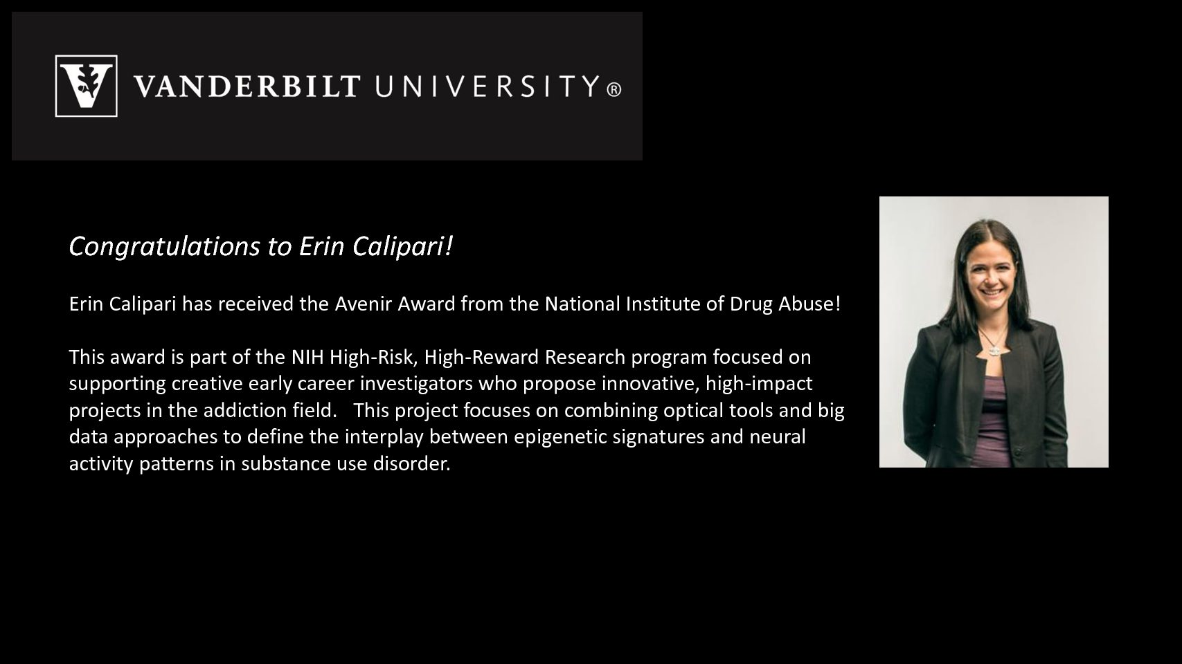 Erin Calipari Congratulations 2019