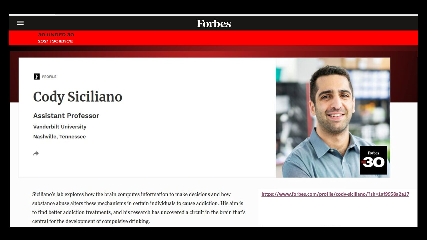 Forbes 30 UNDER 30 2021 Cody Siciliano