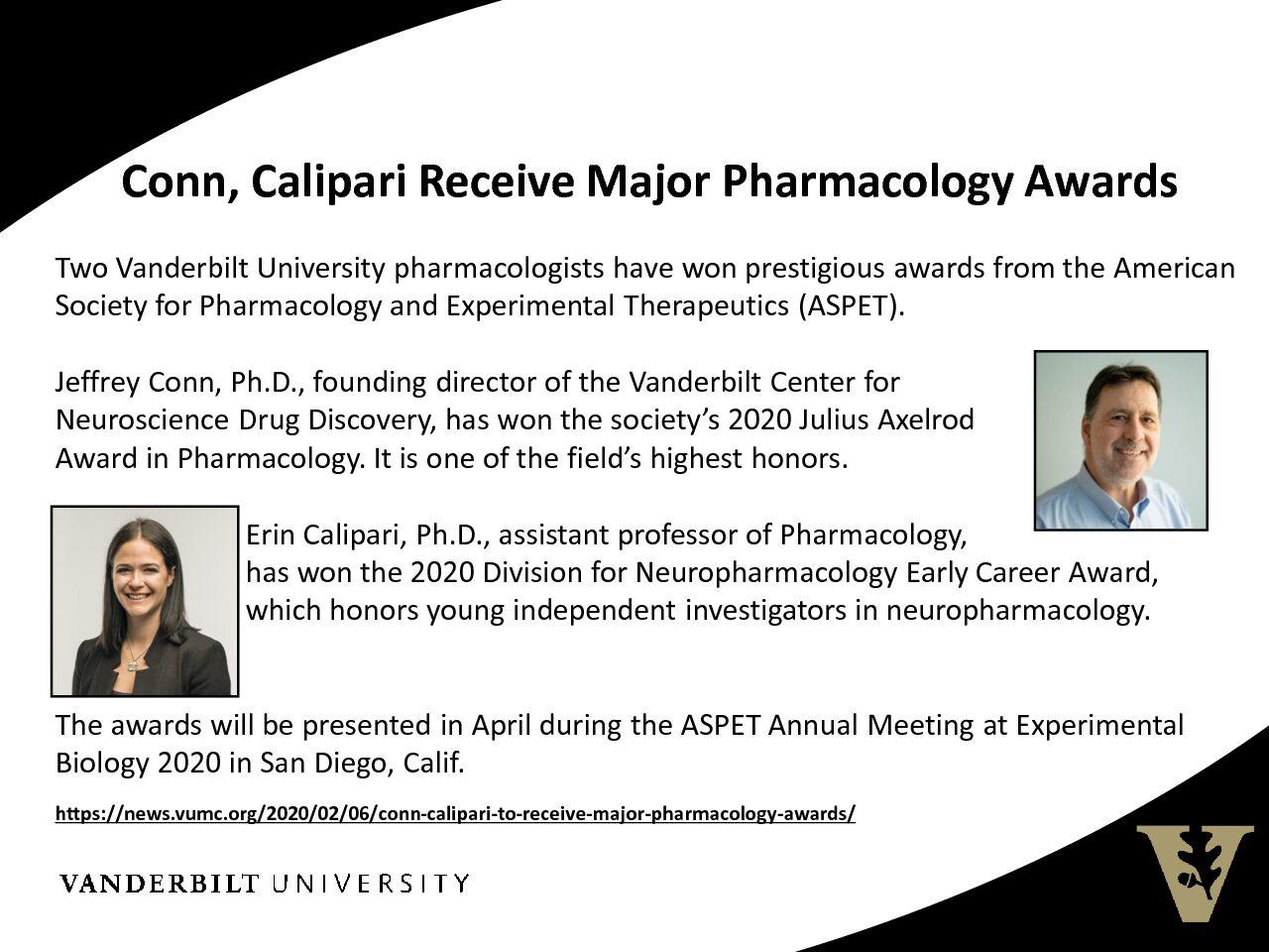 Conn/Calipari Pharmacology Awards