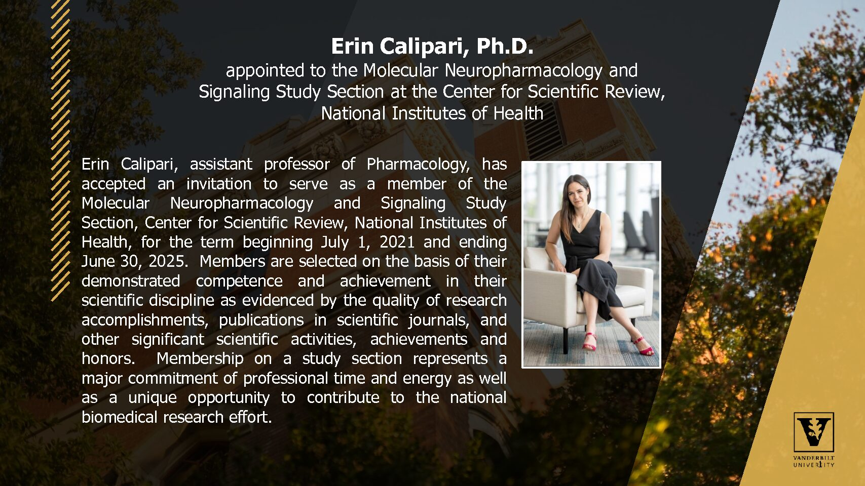 Erin Calipari's Appointment to the Molecular Neuropharmacology and Signaling Study Section