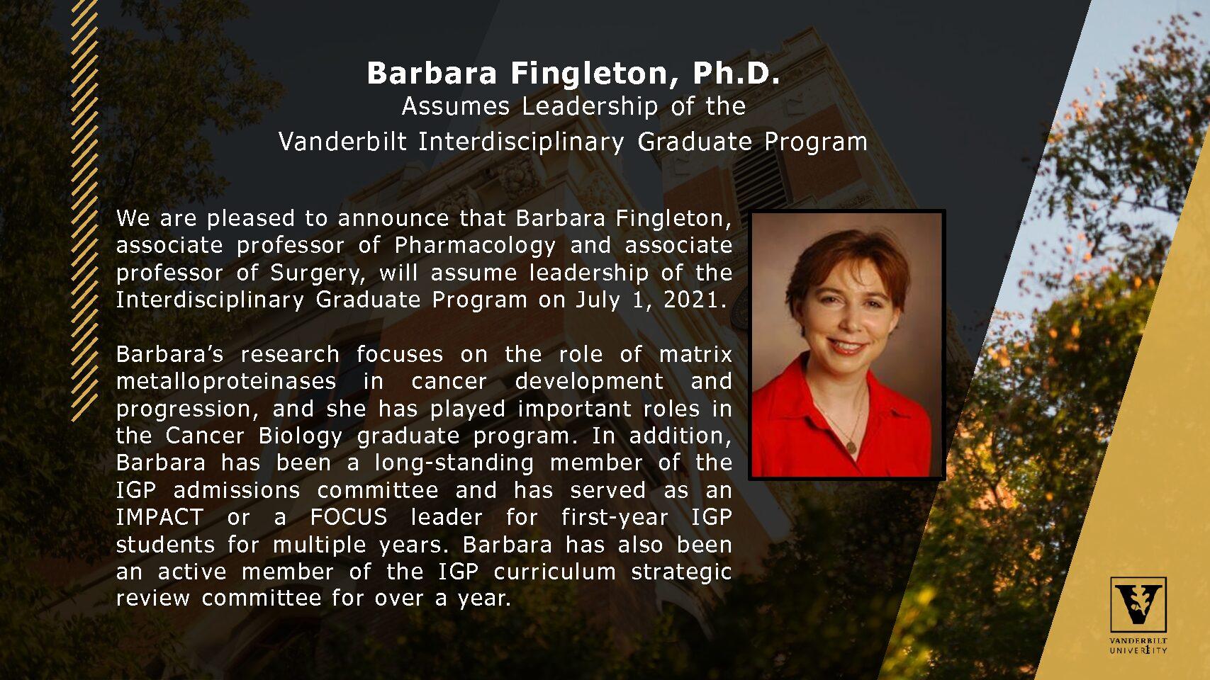 Barbara Fingleton Named Director of IGP 2021