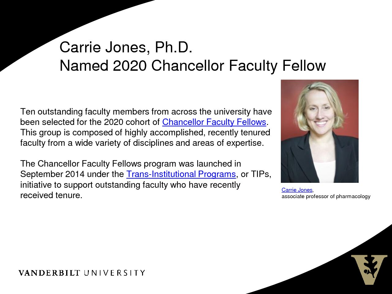 Carrie Jones 2020 Chancellor Faculty Fellow
