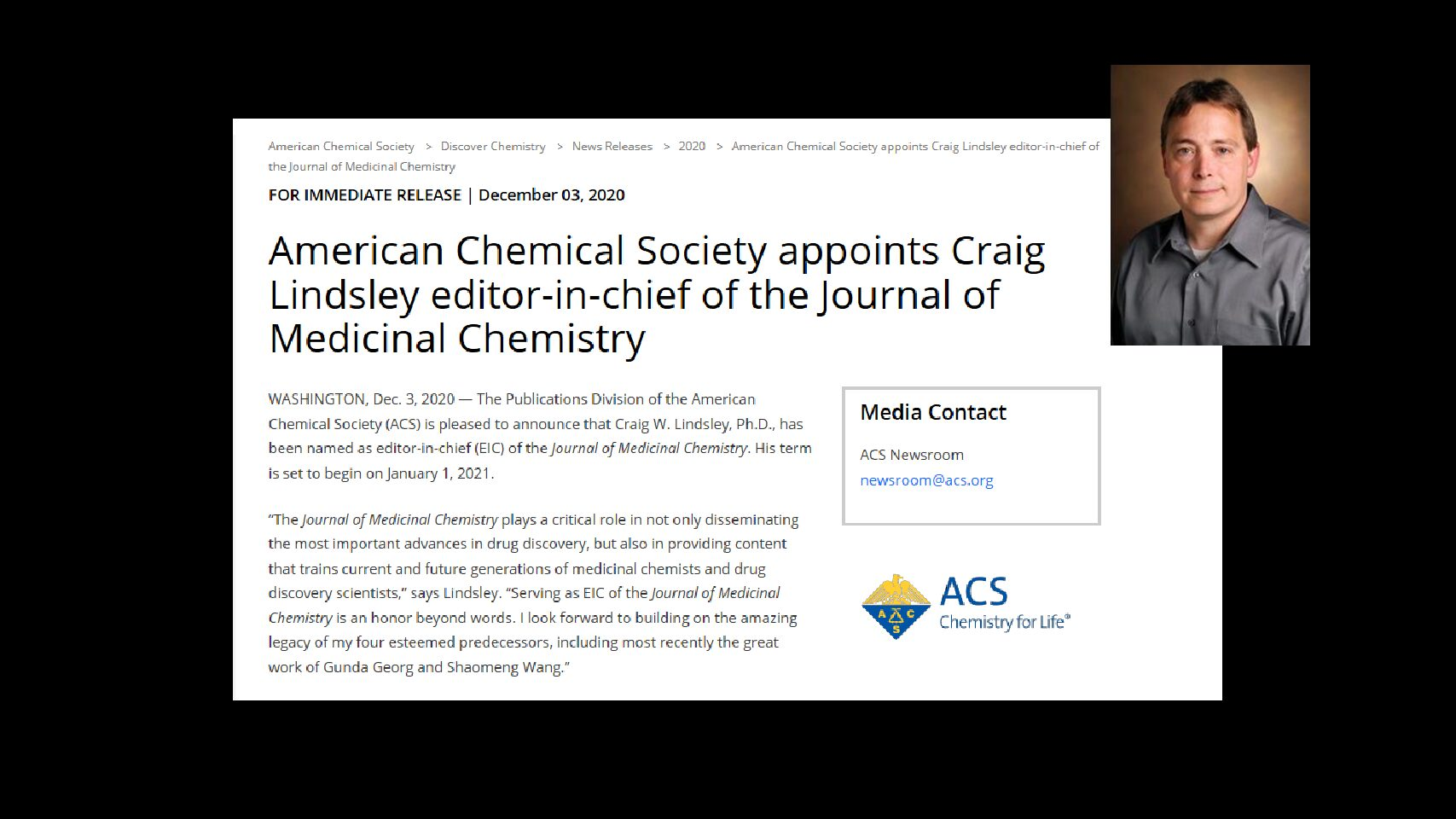 Lindsley Named Editor-in-Chief Journal of Medicinal Chemistry