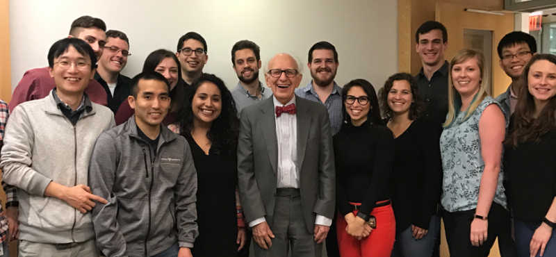 A group of neuroscience graduate students met with the 2000 Nobel Prize for Physiology or Medicine winner, Eric R. Kandel, M.D. on May 5, 2017.