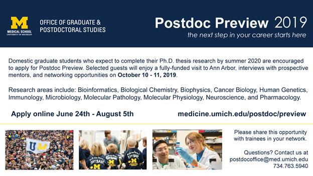 """UM Med School Postdoc Recruitment event """"Postdoc Preview"""