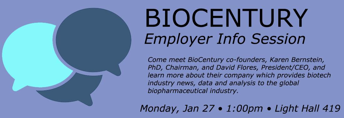 Event: Biocentury Employer Information Session