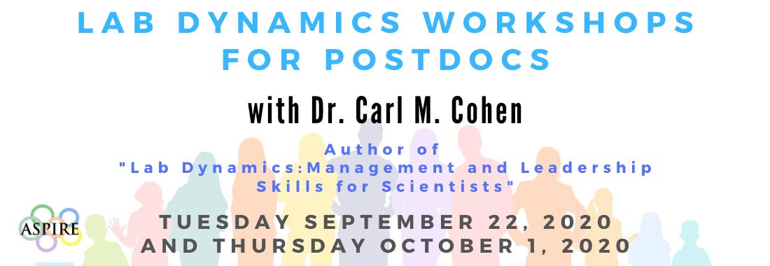 Save the dates! Lab Dynamics Workshops for Postdocs