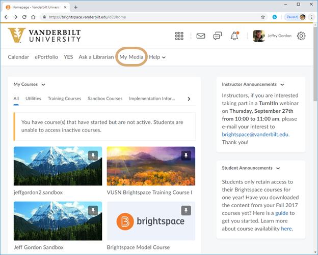Adding A Video To Your Course In Brightspace Through Kaltura School Of Nursing Vanderbilt University