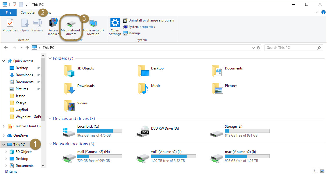 How to Map a Network Drive in Windows 10 | of Nursing ... Map Network Drive on map computer drive, map of college drive, win8 map drive, map airport drive,
