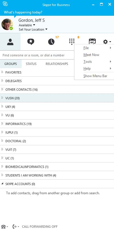 Adjusting settings in Skype for Business