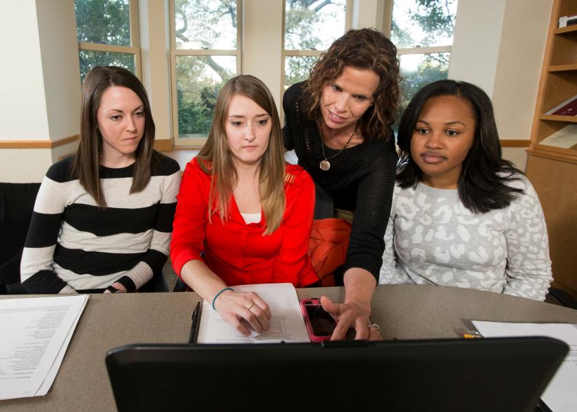 Karen Hande and students