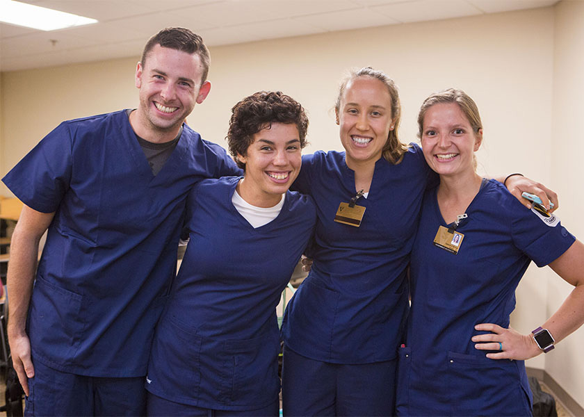 4 Vanderbilt PreSpecialty Nursing students in scrubs