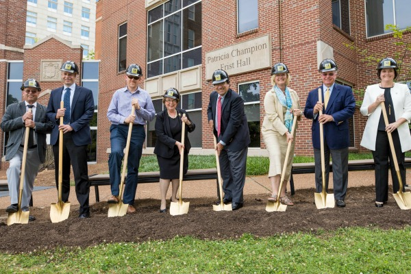 Hard hats and shovels signal the start of construction for School of Nursing building