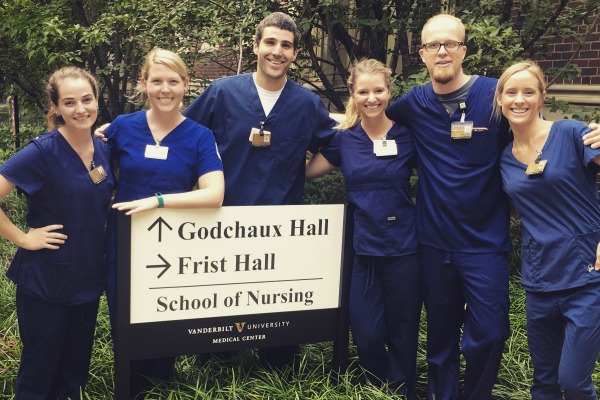 Incoming students in first scrubs