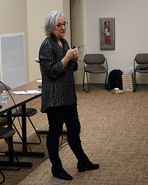 Tonda Hughes giving lecture